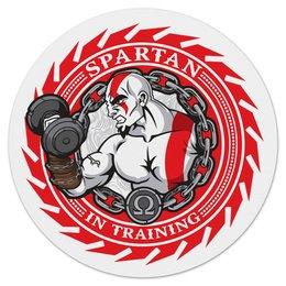 """Коврик для мышки (круглый) """"Spartan in training"""" - качок, атлет, power, сила, спартанец"""