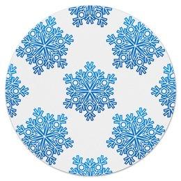 """Коврик для мышки (круглый) """"Голубые снежинки"""" - новый год, узор, голубой, снег, снежинки"""