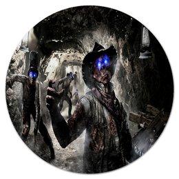 """Коврик для мышки (круглый) """"Зомби"""" - зомби, игры, пещера, call of duty, компьютерные"""