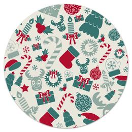 """Коврик для мышки (круглый) """"Новогоднее настроение"""" - конфеты, новый год, игрушки, олени, елка"""