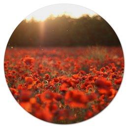 """Коврик для мышки (круглый) """"Маковое поле"""" - цветы, red, ярко, flowers, природа, маки, мак, маковое поле, poppy"""