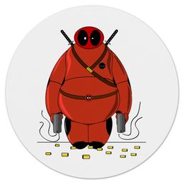 "Коврик для мышки (круглый) ""Deadpool Baymax"" - марвел, убийца, дэдпул, город героев, бэймакс"