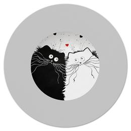"""Коврик для мышки (круглый) """"Кот и Кошка"""" - любовь, юмор, кот и кошка"""