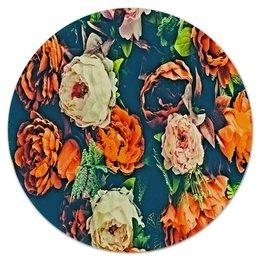 """Коврик для мышки (круглый) """"Flowers"""" - цветы, узор, весна, цветочки, пионы"""
