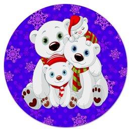 "Коврик для мышки (круглый) ""Белые медведи"" - белый медведь, полярные медведи, медведь, животные, снежинки"