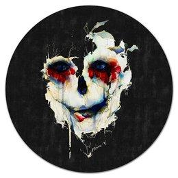 """Коврик для мышки (круглый) """"Череп (skull)"""" - skull, череп, цветы, подарок, мертвец"""