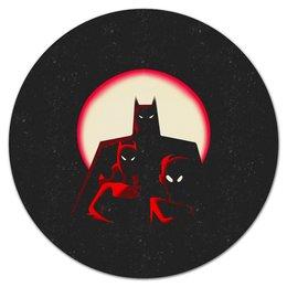"""Коврик для мышки (круглый) """"Бэтмен"""" - batman, бэтмен, супергерой, летучая мышь, брюс уэйн"""