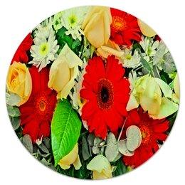 """Коврик для мышки (круглый) """"Букет цветов"""" - цветы, цветочки, весна, узор, природа"""