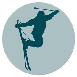 """Коврик для мышки (круглый) """"Фристайл"""" - силуэт, спорт, зима, лыжи, фристайл"""
