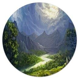 """Коврик для мышки (круглый) """"Пейзаж красками"""" - лес, природа, горы, пейзаж, река"""