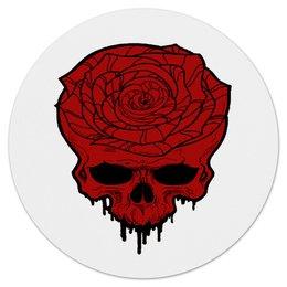 """Коврик для мышки (круглый) """"Череп"""" - череп, цветы, скелет, роза, розы"""