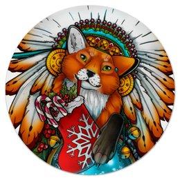 """Коврик для мышки (круглый) """"Лисичка"""" - арт, оригинально, fox, вождь, native american, chief"""