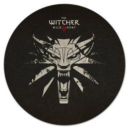 """Коврик для мышки (круглый) """"Ведьмак"""" - волк, wolf, ведьмак, the witcher, wild hunt"""