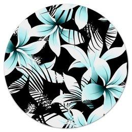 """Коврик для мышки (круглый) """"Голубые цветы"""" - цветы, узор, листья, природа, тропики"""