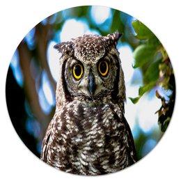 """Коврик для мышки (круглый) """"Сова в лесу"""" - сова, совы, животные, природа, птицы"""