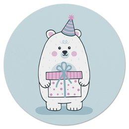 """Коврик для мышки (круглый) """"Полярный медведь."""" - праздник, медведь, рисунок, север, полярный"""