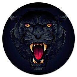 """Коврик для мышки (круглый) """"ЧЕРНАЯ ПАНТЕРА"""" - хищник, животные, стиль эксклюзив креатив красота яркость, арт фэнтези"""