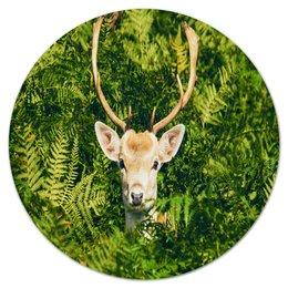"""Коврик для мышки (круглый) """"Олень"""" - олень, рога, природа, пейзаж, животные"""