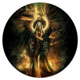 """Коврик для мышки (круглый) """"Ангел"""" - крылья, ангел, апокалипсис, человек, драконы"""