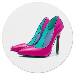 """Коврик для мышки (круглый) """"Туфли"""" - для девушек, арт, красиво, туфли, иллюстрация"""