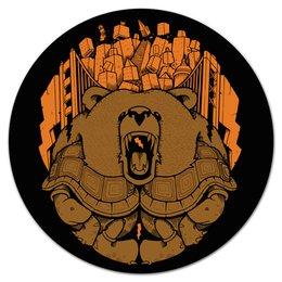 """Коврик для мышки (круглый) """"BEAR CITY / Медведь"""" - арт, медведь, город, молния, черепаха"""