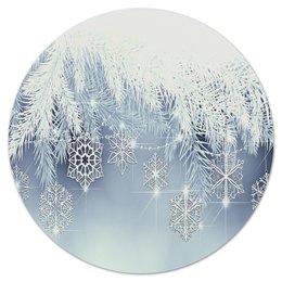 """Коврик для мышки (круглый) """"Снежная елка"""" - новый год, снег, игрушки, снежинки, елка"""
