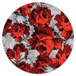 """Коврик для мышки (круглый) """"Цветущие розы"""" - цветы, весна, цветочки, красные, розы"""