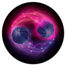 """Коврик для мышки (круглый) """"Пламенные мячи"""" - футбол, спорт, мячи, огонь, игры"""