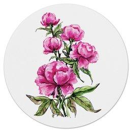 """Коврик для мышки (круглый) """"Пионы"""" - цветы, весна, розовый, подарок, пион"""