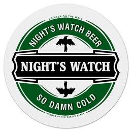 """Коврик для мышки (круглый) """"Nights Watch Beer"""" - пиво, игра престолов, джон сноу, ночной дозор"""