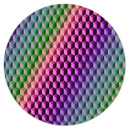 """Коврик для мышки (круглый) """"Градиент"""" - графика, краски, геометрия, градиент, шестиугольник"""