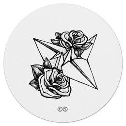 """Коврик для мышки (круглый) """"Origami mouse"""" - дизайн, графика, розы, roses, оригами, origami, tm kiseleva"""