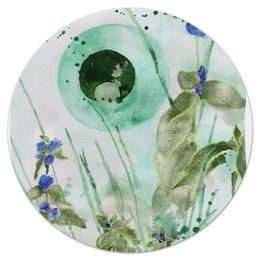 "Коврик для мышки (круглый) ""Мятное утро"" - арт, green, в подарок, акварель, живопись, mint, drawing, morning, мята"