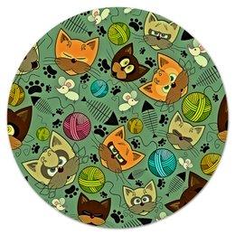 """Коврик для мышки (круглый) """"Кот и мышь"""" - кот, животные, мышь, коты, котята"""