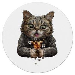 "Коврик для мышки (круглый) ""Whiskey Cat"" - кот, кошка, виски, котенок, алко"