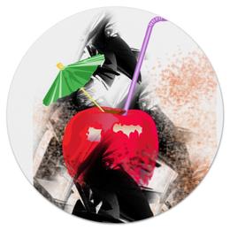 """Коврик для мышки (круглый) """"Яблочный микс"""" - напиток, яблоко, фрукт, натюрморт, зонтик"""