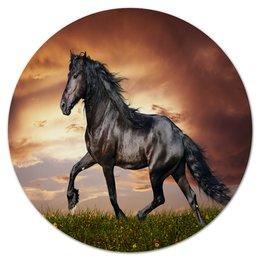 """Коврик для мышки (круглый) """"Лошадь"""" - животные, лошадь, природа, пейзаж, конь"""