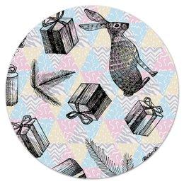 """Коврик для мышки (круглый) """"праздник"""" - праздник, новый год, зима, заяц, подарки"""