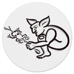 """Коврик для мышки (круглый) """"Задумчивый тролль с лягушкой"""" - арт, тролль, лягушка, сказка, мифические существа"""