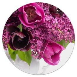 """Коврик для мышки (круглый) """"Сирень"""" - цветы, тюльпаны, букет, ваза, сирень"""