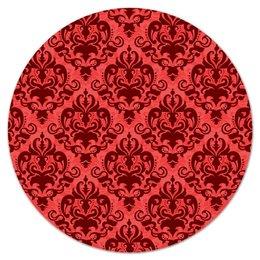 """Коврик для мышки (круглый) """"Кружевной узор"""" - роспись, цветы, кружево, красный, узор"""