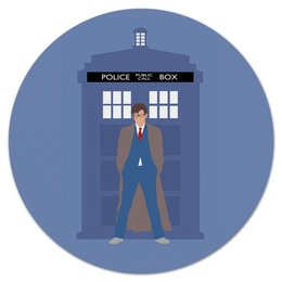 "Коврик для мышки (круглый) ""Доктор Кто и ТАРДИС / Doctor Who & TARDIS"" - doctor who, tardis, доктор кто, тардис, дэвид теннант"