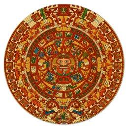 """Коврик для мышки (круглый) """"Календарь майя"""" - ацтеки, календарь майя, наука майя, майя, центральная америка"""