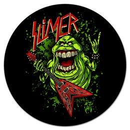 "Коврик для мышки (круглый) ""Лизун/Slayer"" - юмор, slayer, охотники на привидений, thrash metal, ghost busters"