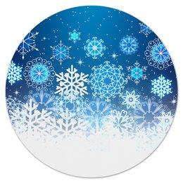 """Коврик для мышки (круглый) """"Узор зимний"""" - зима, снег, снежинки, новый год, узор"""