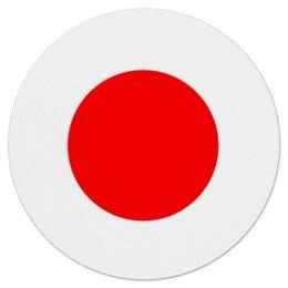 """Коврик для мышки (круглый) """"Японский флаг"""" - япония, красное солнце, солнце, флаг японии, солнечный круг"""
