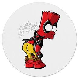 "Коврик для мышки (круглый) ""Bart Deadpool"" - симпсоны, marvel, deadpool, simpsoms, дэдпул"