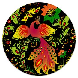 """Коврик для мышки (круглый) """"Жар-птица"""" - цветы, узор, лес, ягоды, жар-птица"""