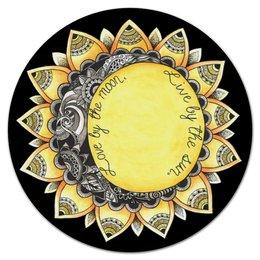 """Коврик для мышки (круглый) """"Love by the moon. Live by the sun"""" - солнце, sun, луна, moon"""