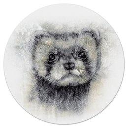 """Коврик для мышки (круглый) """"Рисунок животного хорька."""" - хищник, абстракция, животное, норка, хорёк"""